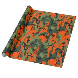 Safety Orange and Green Camo Wrapping Paper