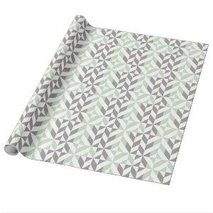 Sage Green and Silver Geometric ZigZag Wrapping Paper