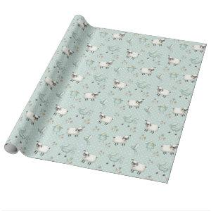 Sage Green Baby Pattern Wrapping Paper
