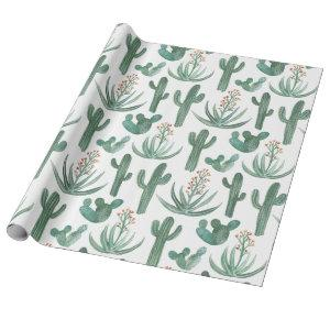 Saguaro Cactus and Desert Aloe Plants on white Wrapping Paper