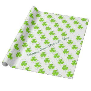 """Saint Patrick's Clovers Wrapping Paper, 30"""" x 6' Wrapping Paper"""