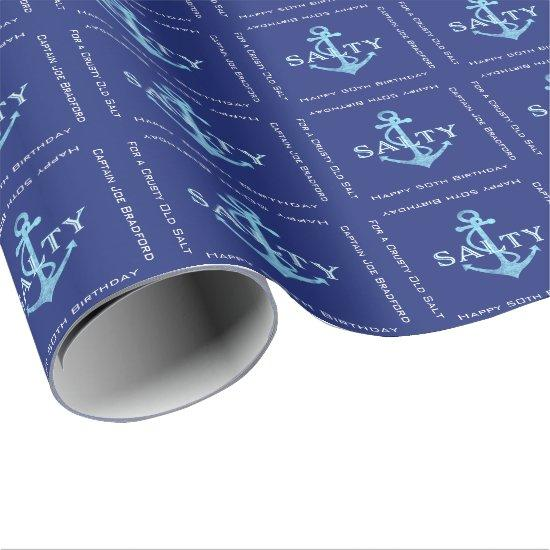 Salty Sea Anchor Captain's Birthday Wrapping Paper