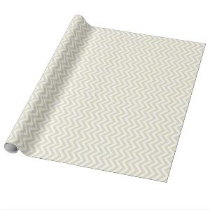 Sand Beige and White Large Chevron Pattern H Wrapping Paper