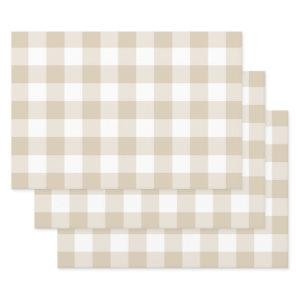 Sand Beige Gingham Check Plaid Neutral Farmhouse Wrapping Paper Sheets