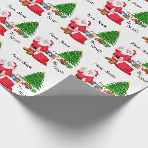 Santa Add Child's NAME Classic Christmas Theme Wrapping Paper