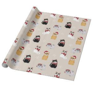 Santa Cats Cute Pet Kitty Christmas Pattern Wrapping Paper