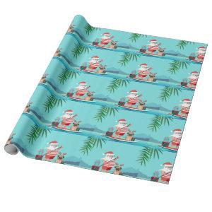 Santa Claus and His Pug on a Surfboard Wrapping Paper