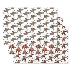 Santa Claus Loves Dinosaurs Wrapping Paper Sheets