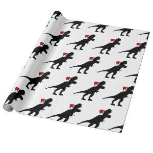 Santa Claus T-Rex Wrapping Paper