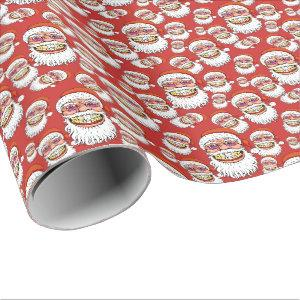 santa claus with merry christmas smile wrapping paper