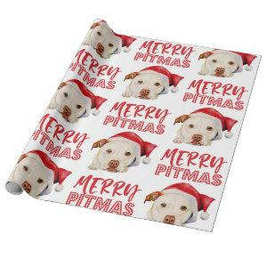 Santa Dog Merry Pitmas Funny Pitbull Christmas Wrapping Paper