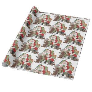 Santa Loves Our Pets! Christmas Animal Holiday Dog Wrapping Paper