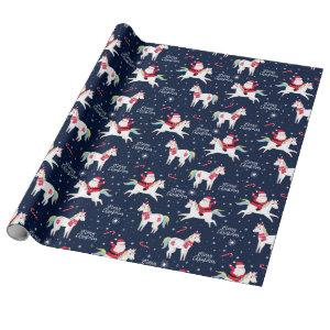 Santa on a Unicorn Wrapping Paper