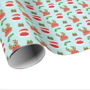 Santa Reindeer Face Mask Blue Christmas Wrapping Paper