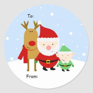 Santa, Rudolph and Elf Christmas Tag, To: From: Classic Round Sticker