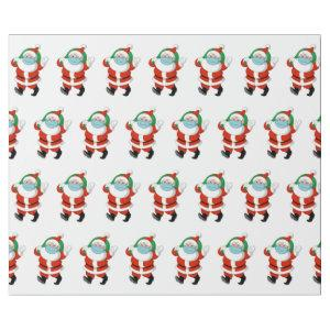 Santa wearing medical mask wrapping paper