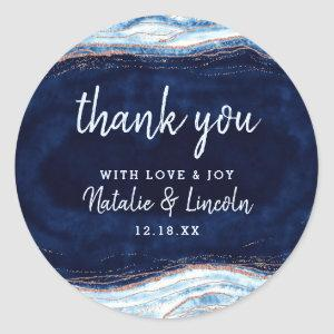 Sapphire Blue Rose Gold Geode Wedding Thank You Classic Round Sticker