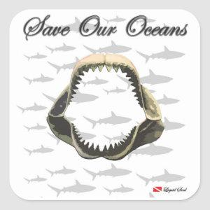 Save Our Oceans - Shark Jaws Square Sticker