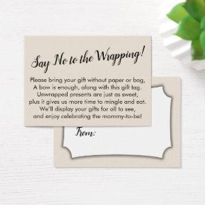 Say No to Wrapping Baby Shower Cream Gift Card