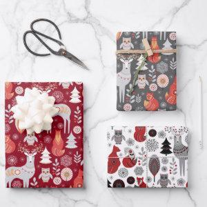Scandinavian Woodland Animals Christmas Holiday Wr Wrapping Paper Sheets