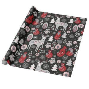 Scandinavian Woodland Animals Christmas Holiday Wrapping Paper