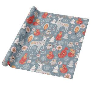 Scandinavian Woodland Animals Christmas Wrapping Paper