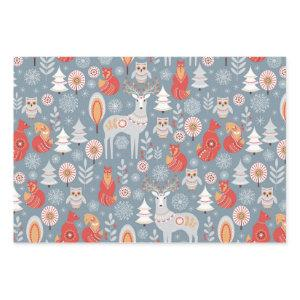 Scandinavian Woodland Animals Christmas Wrapping Paper Sheets