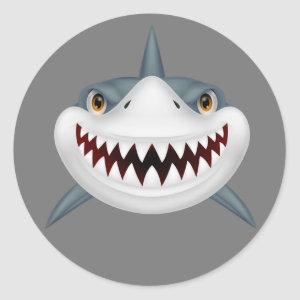 Scary animated shark classic round sticker