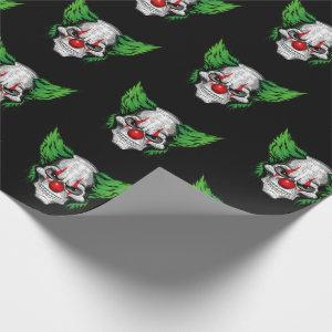 Scary clown with spooky eyes wrapping paper