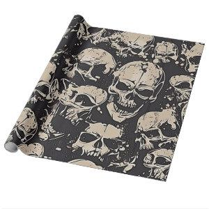 Scattered Grunge Skulls Wrapping Paper
