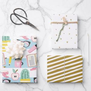 School Girl Blue & Gold Wrapping Paper Set