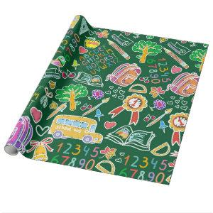 School pattern wrapping paper