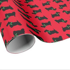 Scottie Dog and Holly Pattern Wrapping Paper
