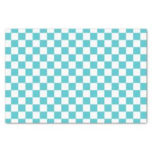 Sea Serpent Blue and White Checkerboard Pattern Tissue Paper