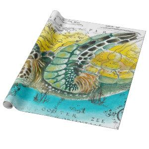 Sea Turtle Watercolor Vintage Map white Wrapping Paper