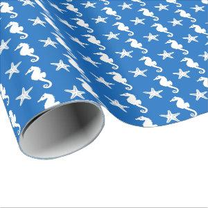 Seahorse & starfish - white on cobalt blue wrapping paper
