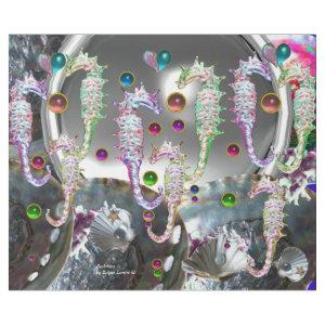 SEAHORSES IN LOVE , PINK TEAL BLUE MOTHER OF PEARL WRAPPING PAPER