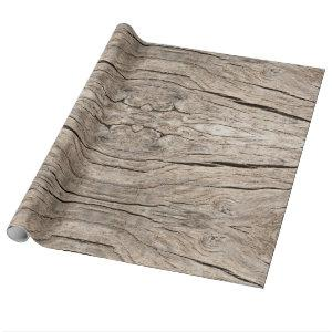 Seamless Faux Cracked Tree Wood Cut Wrapping Paper