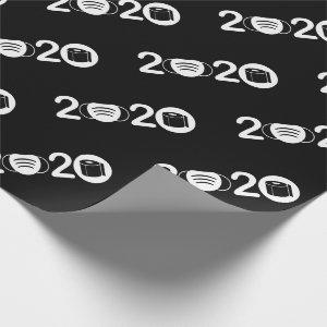 Seniors 2020 | Quarantined Graduation White Black Wrapping Paper