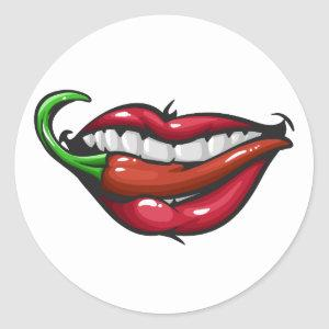 Sensual woman lips with red hot chili pepper classic round sticker