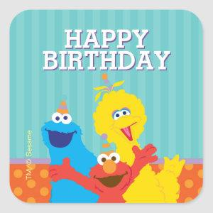 Sesame Pals Birthday Pattern Square Sticker