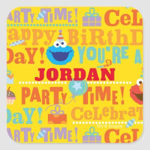 Sesame Pals Celebration Pattern Square Sticker