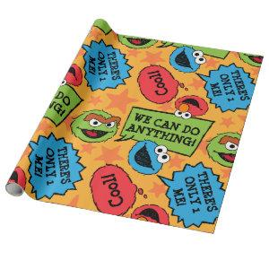 Sesame Pals Positivity Callout Pattern Wrapping Paper