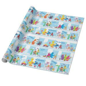 Sesame Pals Walking Along Sesame Street Pattern Wrapping Paper