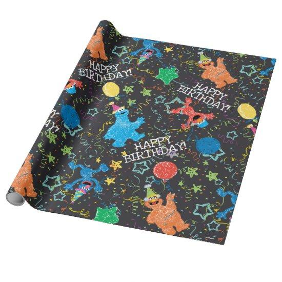 Sesame Street Pals Chalkboard Rainbow Wrapping Paper