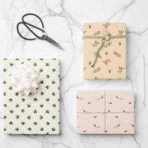 Set of 3 Cute Honey Bee Baby Shower Wrapping Paper Sheets