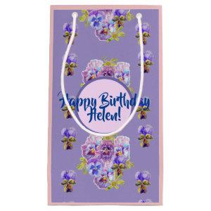 Shabby Chic Purple Pansy flowers Floral Gift Bag