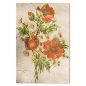 Shabby Chic Vintage Floral Poppy Bouquet Tissue Paper