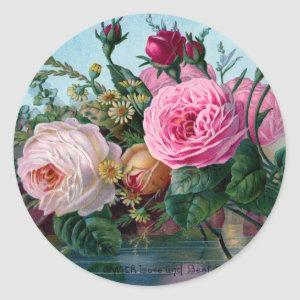 Shabby Chic Vintage Pink & White Roses Floral Classic Round Sticker