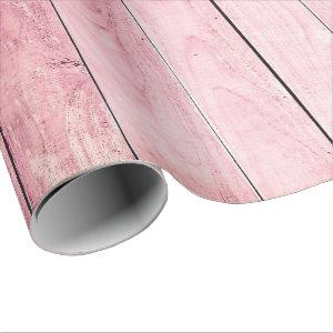 Shabby Grain Rustic Pastel Rose Peony Pink Wood Wrapping Paper